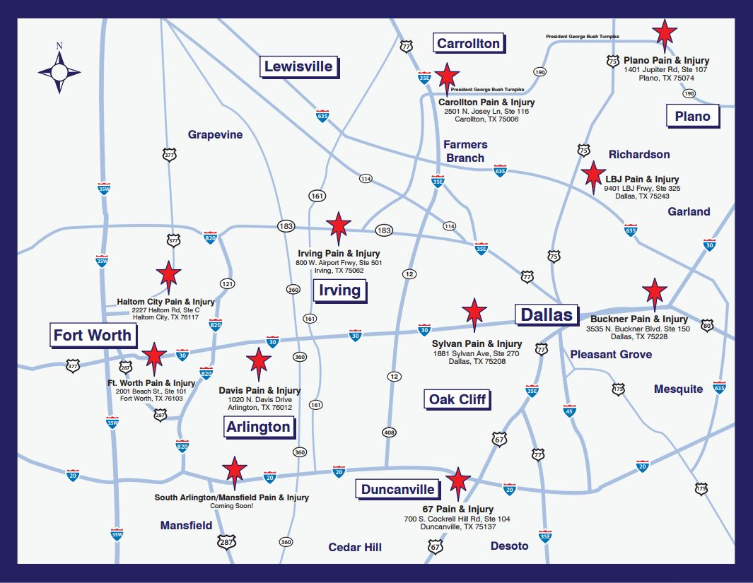 Visit Our Pain And Injury Centers Throughout Northern Texas - Dallas tx on us map